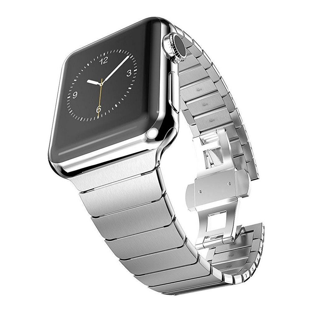 Band for Apple watch 42mm 38mm Butterfly Clasp Stainless Steel Link Bracelet Strap for Apple watch Series 3 / 2 watchband