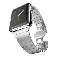 Band For Apple Watch 42mm 38mm Butterfly Clasp Stainless Steel Link Bracelet Strap For Apple Watch