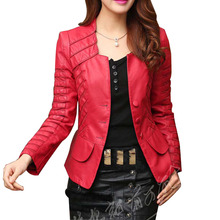 2017  fashion Autumn winter Women's plus size  pu leather jackets  zipper motorcycle Pachwork Long Sleeve coat CO11