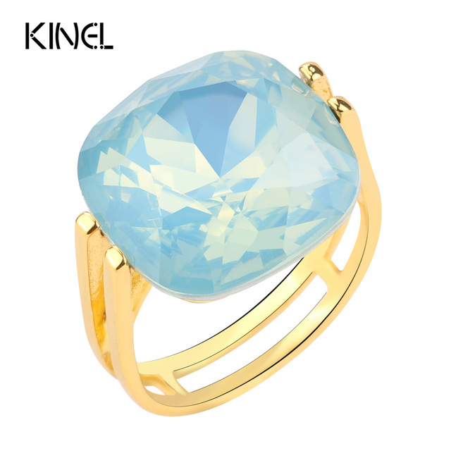 2017 Fashion Square Blue Opal Stone Wedding Rings For Women Gold Color CZ Zircon