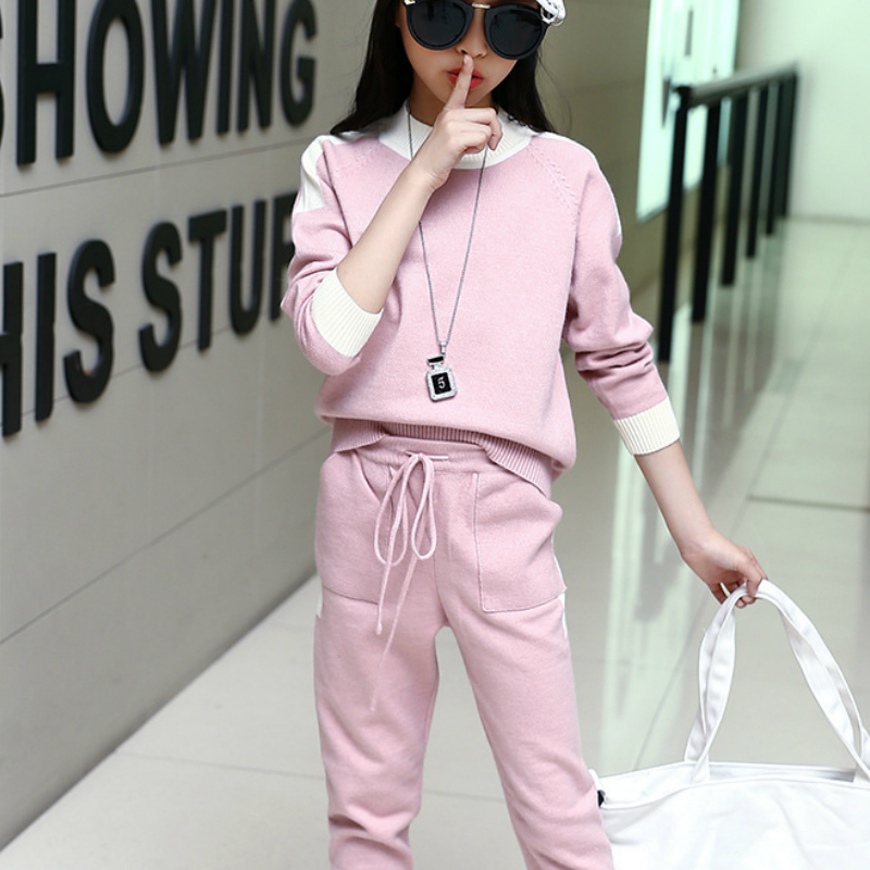 Spring 2018 Girls Clothing Sets Casual Fashion Sweater Two-Piece Causal Sport Suits men s spring fashion casual sport print hood sweatshirts trousers two piece suit