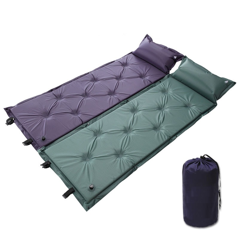 New Self Inflating Mattress Inflatable Sleeping Pad Camping Air Mattress with Pillow Portable Folding Beach Mat automatic inflatable cushion outdoor travelling sleeping bed pad camping mat sleeping picinic mattress pad self inflating