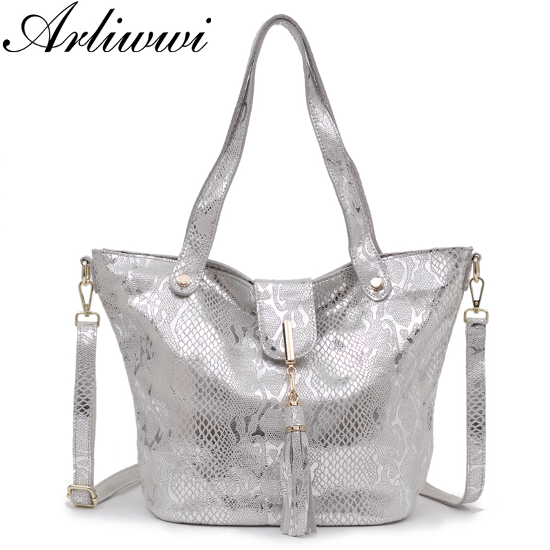 Arliwwi Brand Real Soft Serpentine Embossed Genuine Leather Shiny Bags For Women Big Tassel Shoulder Tote Handbag Lady