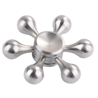 Six Arm Gold Silver Metal Figet Spinner 3D Focus Bearing Torqbar Autism Finger Toys Stress Reliever