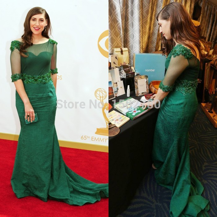 the 65th emmy awards dresses mayim bialik illusion sleeves sequins