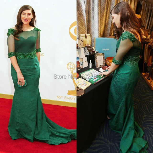 The 65th Emmy Awards Dresses Mayim Bialik Illusion Sleeves Sequins Emerald  Green Evening Dresses Plus Size 29a1bfb5edfd