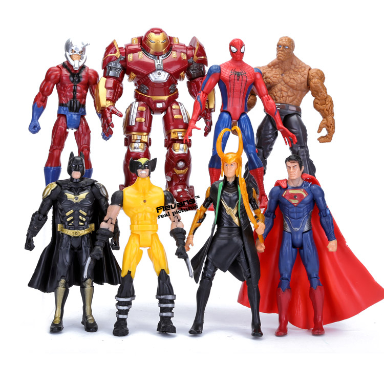 Superheroes Avengers 8pcs/set Spiderman Hulkbuster Logan Loki Superman PVC Action Figures Toys HRFG381 marvel hero series avengers superheroes pvc action figures toys spiderman ironman superman batman thor collection model toys