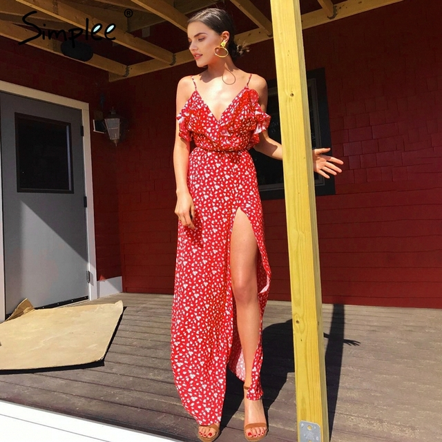 Simplee V neck ruffle floral print summer dress women Backless strap boho dress long Sleeveless split maxi beach dress vestidos