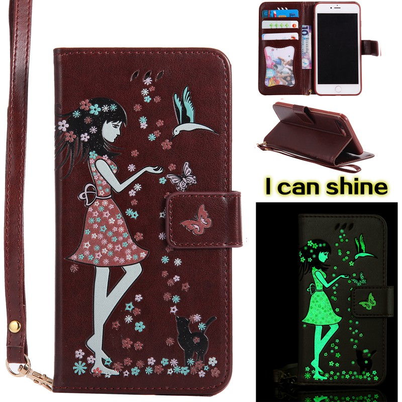 MuTouNiao Luminous Brown Card Slot Wallet PU Leather Stand Flip Case Cover For iPhone 7 Plus/iPhone 8 Plus