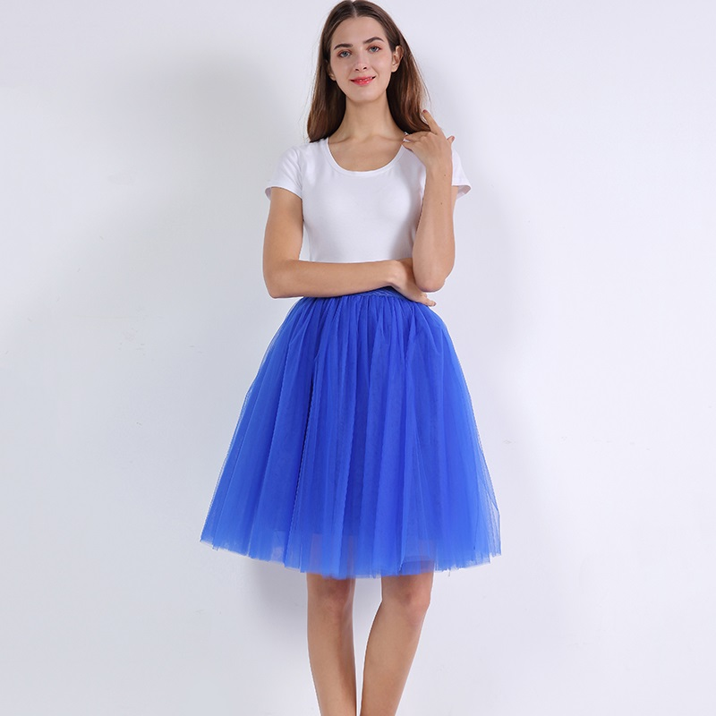 7 Layered Tulle Skirts Womens High Waist Swing Dolly Ball Gown Underskirt Mesh Tutu 2018 Summer Midi Skirt Faldas Saias Jupe