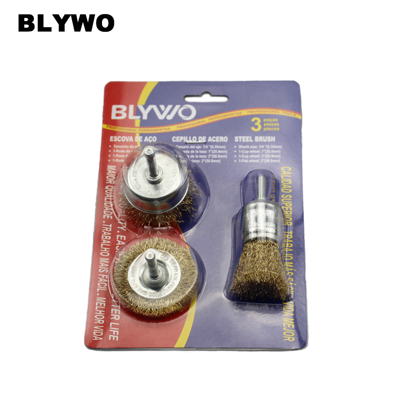 3pcs copper wire wheel brush bowl type grinding head electric cleaning rust removing burr polishing