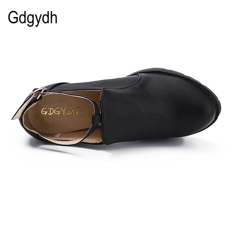 Gdgydh الأسود الخريف النساء أحذية جولة تو منصة كعب سميك مضخات حجر الراين t حزام مشبك الأحذية النسائية الكعوب قطرة مجانا-في أحذية نسائية من أحذية على  مجموعة 3