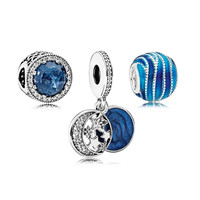 Brilliant Blue Charm Beads for Jewelry Making Radiant Heart & Moon Star & Waves Design Silver 925 Jewelry For Beaded Bracelets