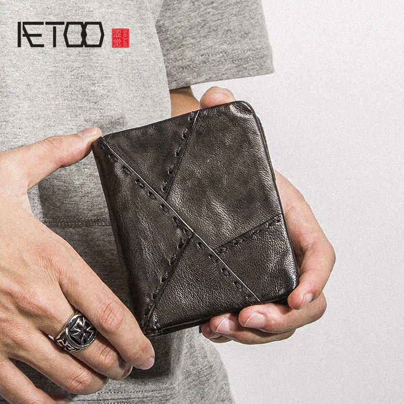 AETOO Handmade leather wallet men short section vertical zipper personality men money wallet youth tide male