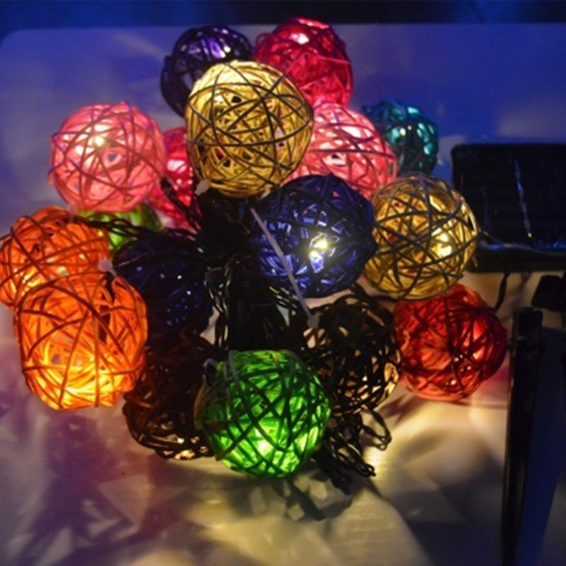 9m 20 LEDs Solar String Lights Waterproof Outdoor Garden Window Wedding Courtyard Holiday Party New Year Decorative Rattan Lamps