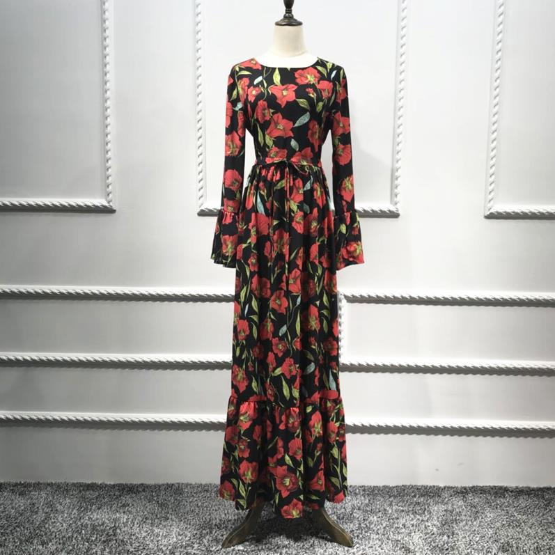 5b70921c21d8f US $27.61 49% OFF|Plus Size Vestidos 2019 Abaya Dubai Kaftan Crepe Long  Bandage Hijab Arabic Muslim Dress Women Elbise Turkish Islamic Clothing-in  ...