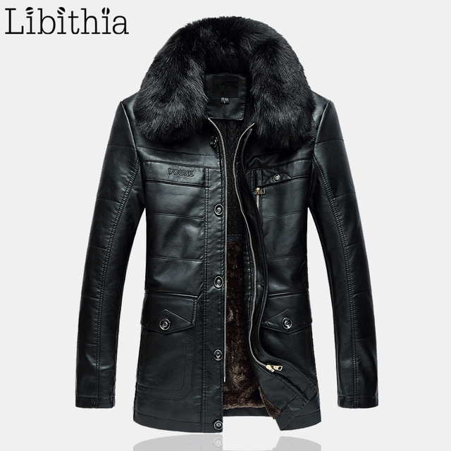 Men PU Leather Casual Thick Fleece Jackets Fur Collar Coats Zipper Straight Long Clothes Male Large Size XL-4XL Black Brown K269
