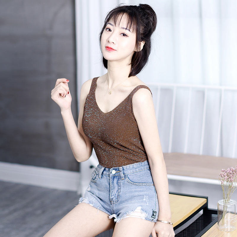 Cool Spring Sexy Knitted Tank Top Women top Solid Silver V Neck T-shirt Female Sleeveless Vest Casual Camis Blouse  D355