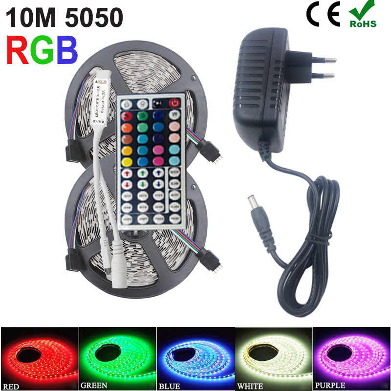 Riri Akan SMD RGB LED Strip Light 5050 2835 10M 5M Lampu LED RGB LED Pita Dioda Pita fleksibel Controller DC 12V Adaptor Set