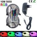 RiRi won SMD RGB LED tira de luz 2835 5050 10 m 5 M luz LED rgb LED cinta diodo cinta Flexible controlador DC 12 V adaptador conjunto