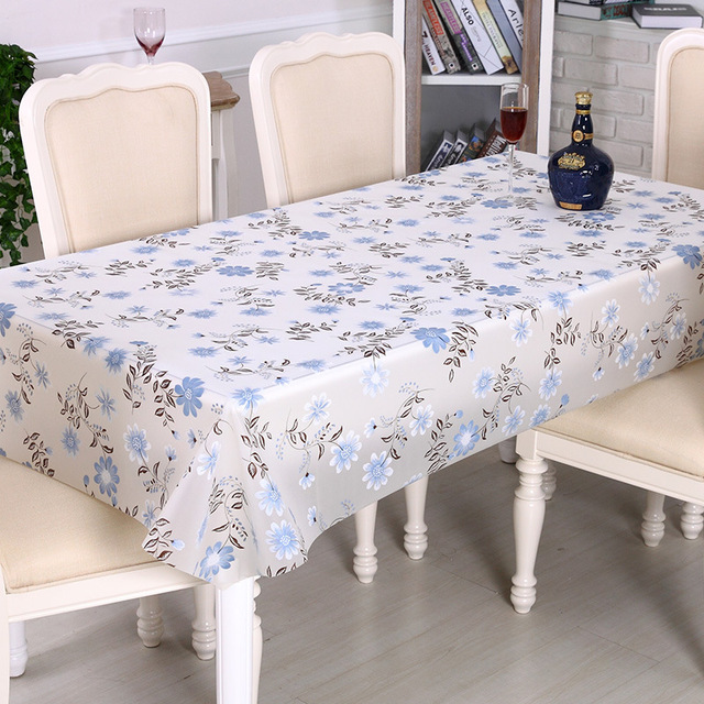 PVC Tablecloth Waterproof White Table Cloth Rectangular Oilcloth Table  Cloths Cover For Home Christmas Tablecloth Floral