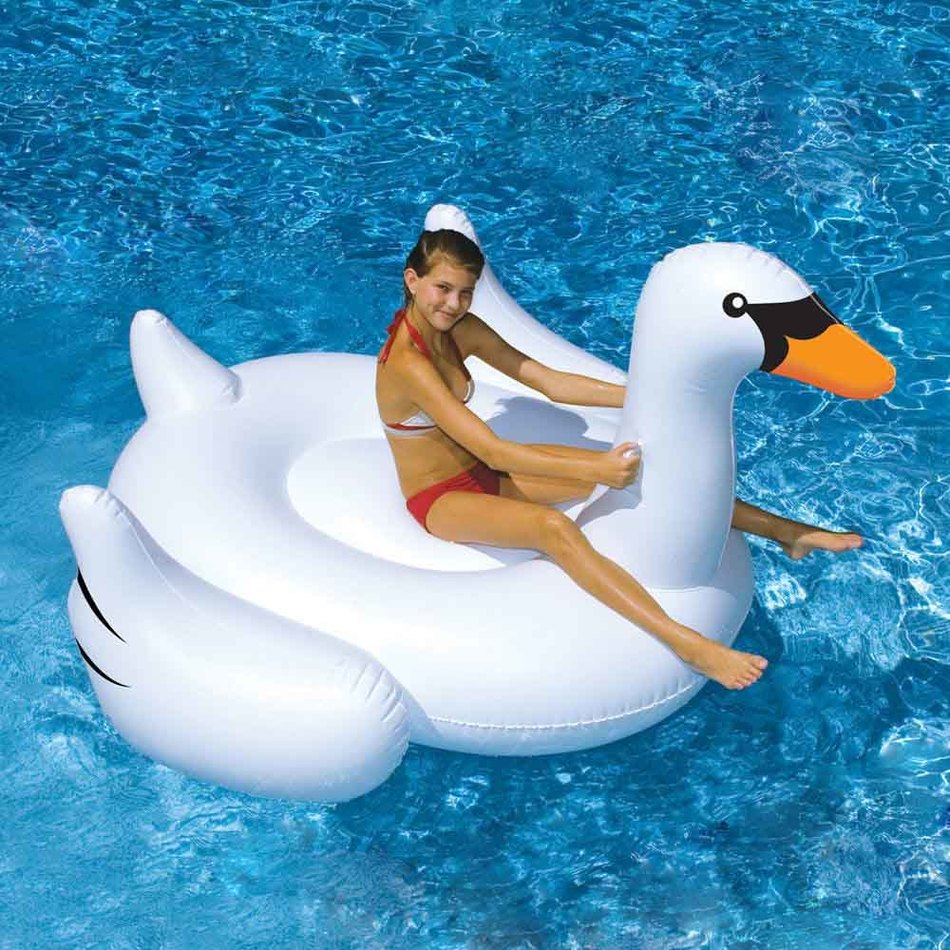 MOBPOKO 150CM 60 inch Giant Swan Inflatable Ride-On Pool Toy Float inflatable swan pool Swim Water inflatable floating ring giant pool float inflatable watermelo lazy air mattress bed swim ring feamle floating row water fun toy swimming laps