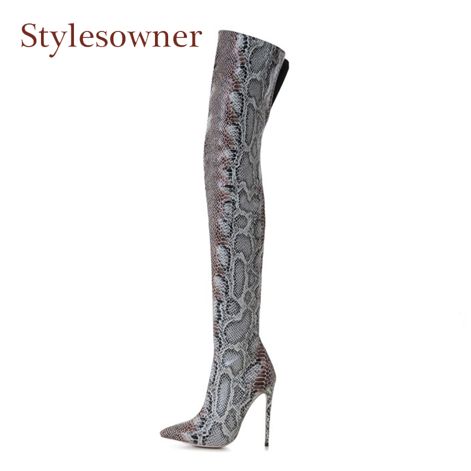 Stylesowner sexy lady pointed toe high heel thigh high boots snakle leather stilettos heel over the knee boots big size 34-43EU цены онлайн