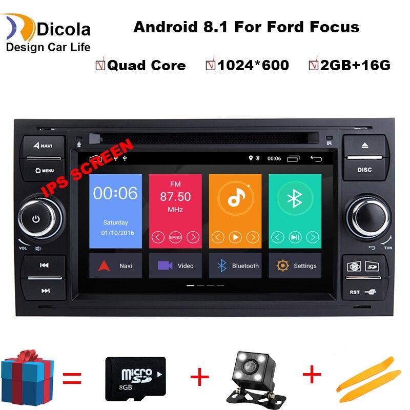IPS HD 2 Din Quad Core Android 8.1 Jogador Do Carro DVD GPS de Navegação WIFI 4G para FORD S- max Fusão Kuga Transit Fiesta Focus II