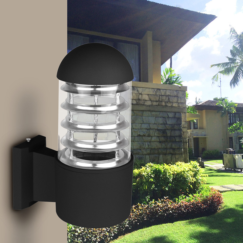 Waterproof Outdoor Lighting Aluminum Gl Lampshade Led Wall Light Fixtures Ip65 Lamp E27 Socket Ac 85 240v Without Bulb In Lamps