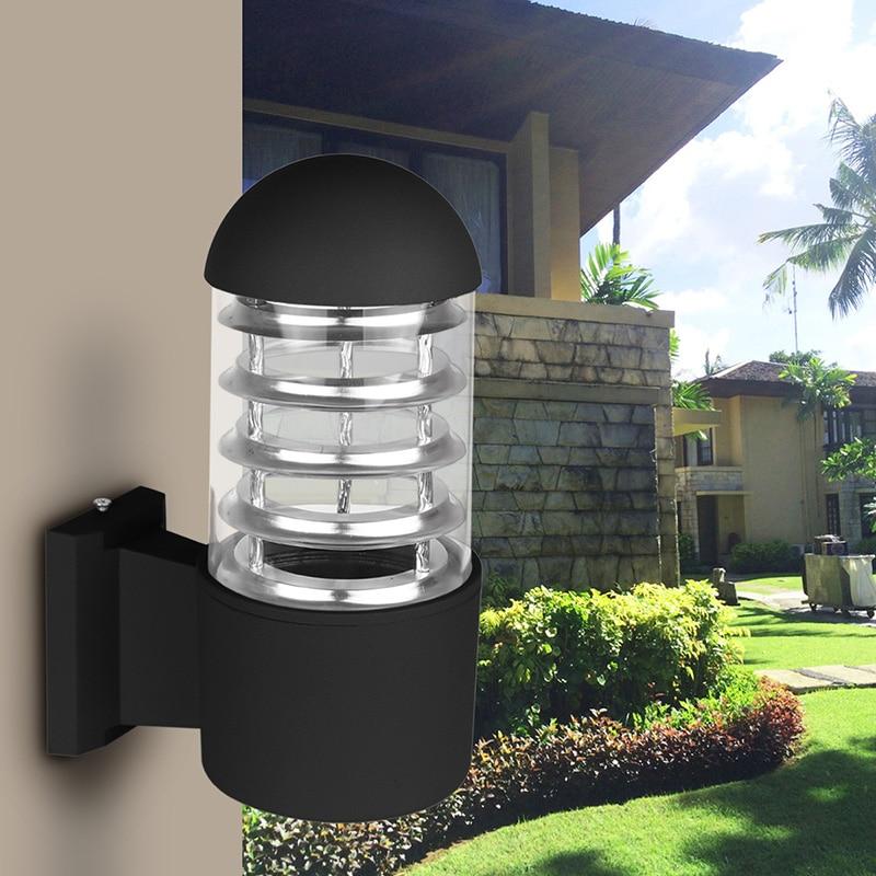 waterproof outdoor lighting aluminum glass lampshade led wall light fixtures ip65 wall lamp e27 socket ac