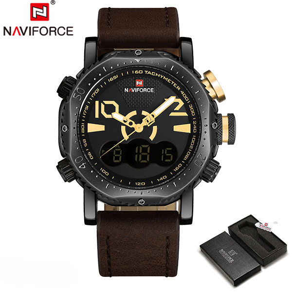Luxury Brand Waterproof Men's Watches  Leather  Quartz Analog Digital LED Army Military Sport Watch Male Relogios Masculinos