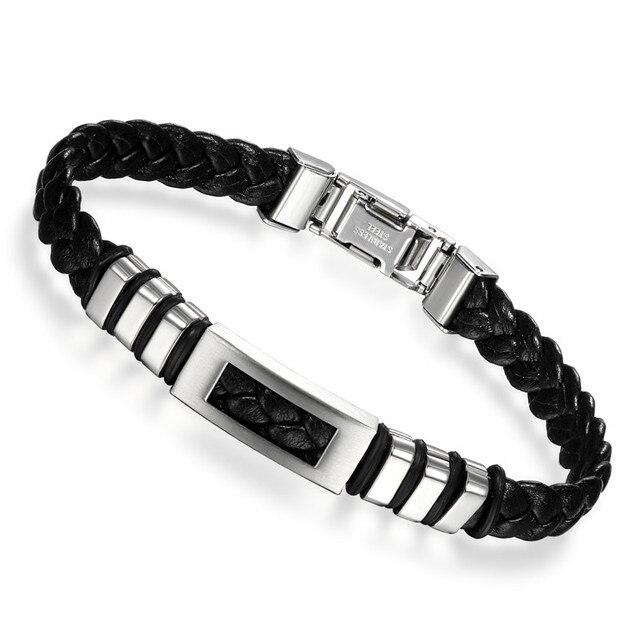 Boniskiss Fashion Black Leather Bracelets Men Jewelry Stainless ...