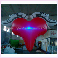 Hanging red inflatable valentines heart inflatable valentines day wedding decoration with angle wings