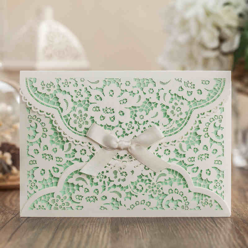 Apple Green Wedding Card ,Korea Laser Cut Invitations , Elegant ...