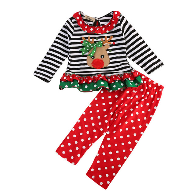 fe9fef1170db Christmas Party Toddler Baby Girls Costume Clothing Sets Kids Xmas Deer Dot  Cotton Ruffles Blouse +Long Pants 2PCS Outfits 0-5Y