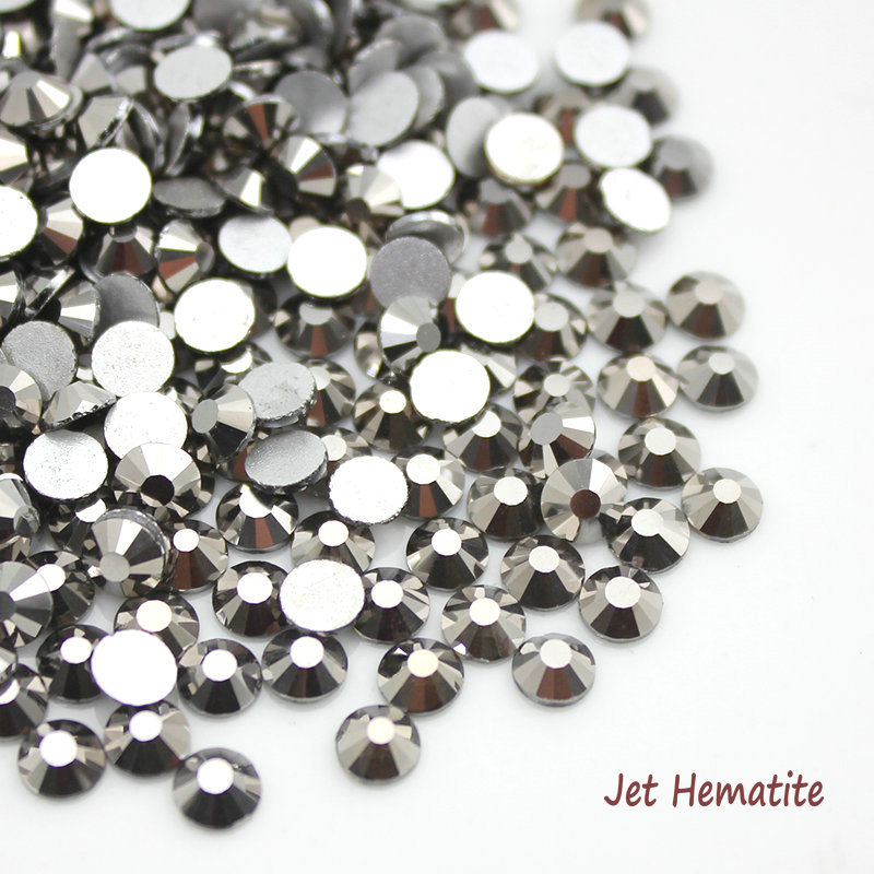 Jet Hematite 3D Nail Art Rhinestones Flatback Non Hotfix For Nails Decor SS4 SS6 SS8 SS10 SS12 SS16 SS20 SS30 blue opal glass 3d nail art decorations ss3 ss4 ss5 ss6 ss8 ss10 ss12 ss16 ss20 ss30 ss34 crystal nails non hotfix rhinestones
