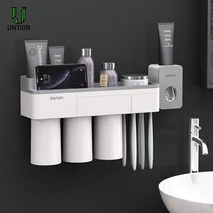 Image 2 - UNITOR plastik duvara monte diş fırçası tutucu otomatik diş macunu Dispenser tuvalet depolama raf banyo aksesuarları seti