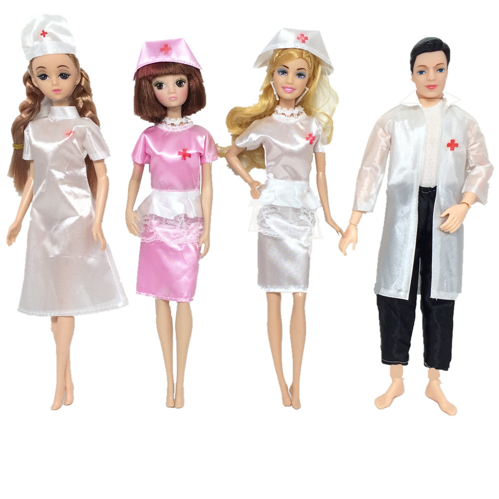 NK One Set Doll Toys Fashion Clothing Uniform  Angel Female Nurse Male Doctor Dress Dress Up Toys For Barbie Doll Cosplay JJ