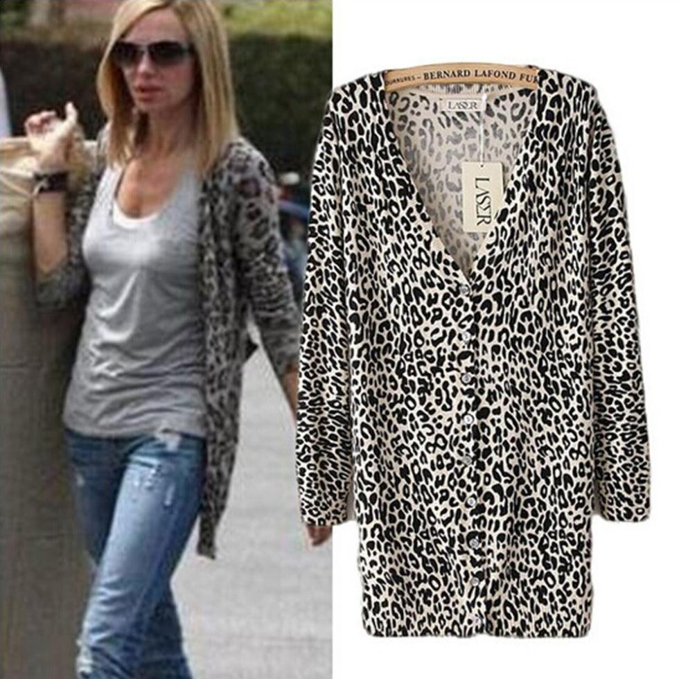 Online Shop Fashion Women cardigan Leopard print Cardigans Sweater ...