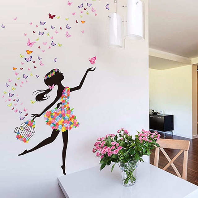 Butterfly Dancing Girl Flower Mural Removable Decorative Mirrors ...