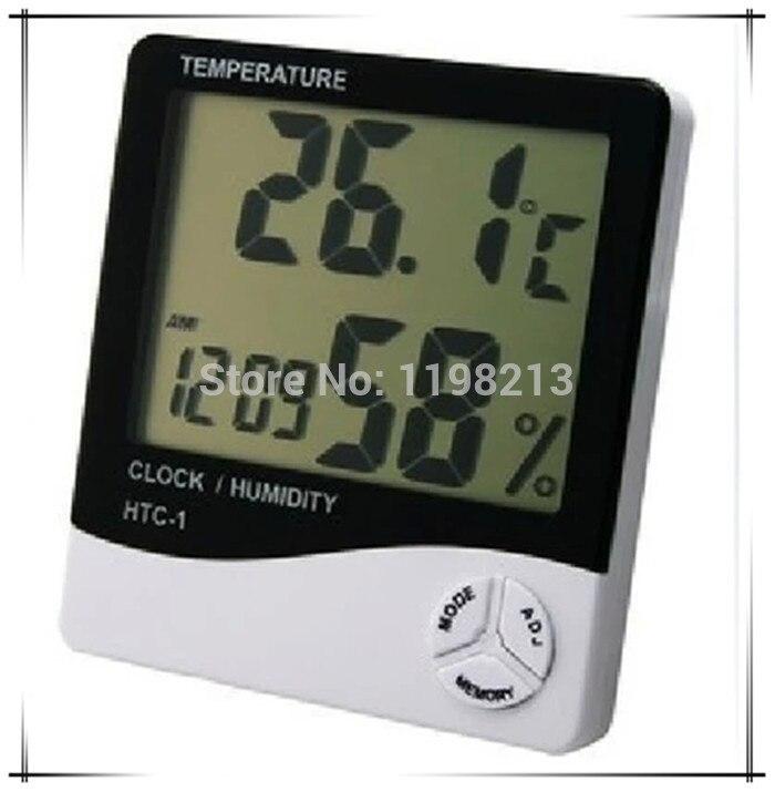 Numérique Thermomètre Hygromètre Station Météo Numérique Température Hygromètre avec horloge Humidité Mètre HTC-1