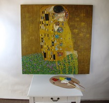 Handmade oil on Canvas Quality Reproduction The Kiss by By Gustav Klimt