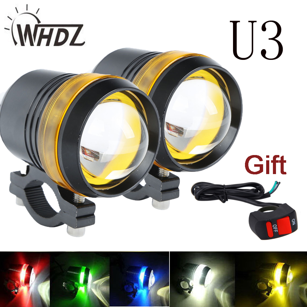 2pc Universal Waterproof Black U3 LED  Motorcycle light Motor Headlight Spot Light with blue yellow white red angel eye U3 light