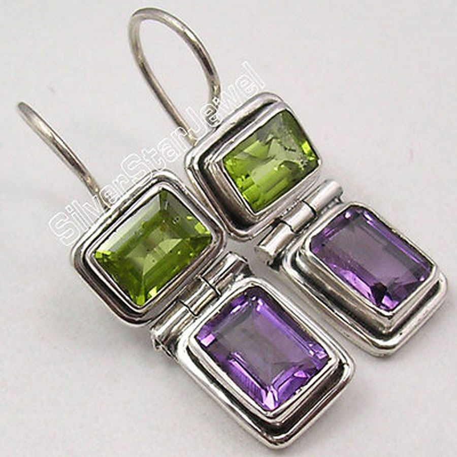 Silver Natural PERIDOT Amethysts 2 Gem LOVELY Earrings 2 9 CM