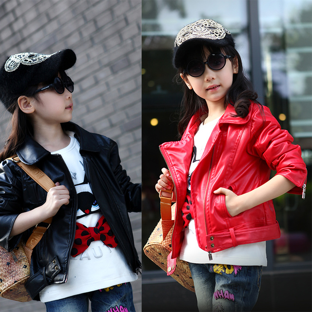 2015 Winter and Autumn Girls leather jacket kids lapel short paragraph PU leather jacket big virgin leather jacket