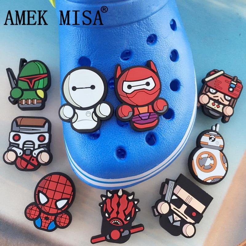 9 Pcs A Lot PVC Shoe Decoration Cartoon Big Hero 6 Charms Accessories For Kids Favor Kawaii Vute Xmas Gift Fit Bands/Croc D27