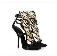 Gold Flamme 2016 Schwarz Weiß Damen Sandalen Schnalle Günstige hohen Dünnen Fersen Mode Prom Schuhe Neu Kommen Sommer Stil schuhe