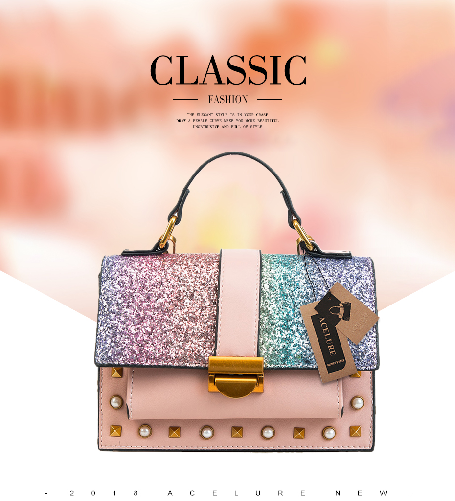 9e513779fe85 ACELURE Rivet Top Handbags Glitter Sequined Women Messenger Bag ...
