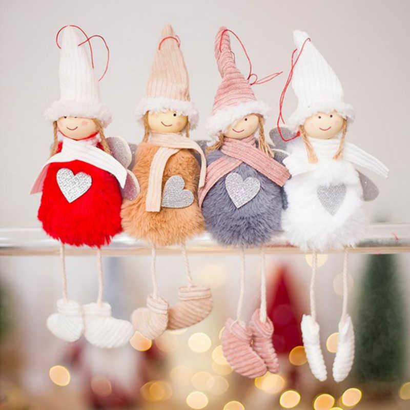 น่ารักคริสต์มาส Angel Elf Girl Boy Plush ตุ๊กตาสกีจี้เครื่องประดับคริสต์มาสตกแต่งสำหรับนาตาล Noel 2018