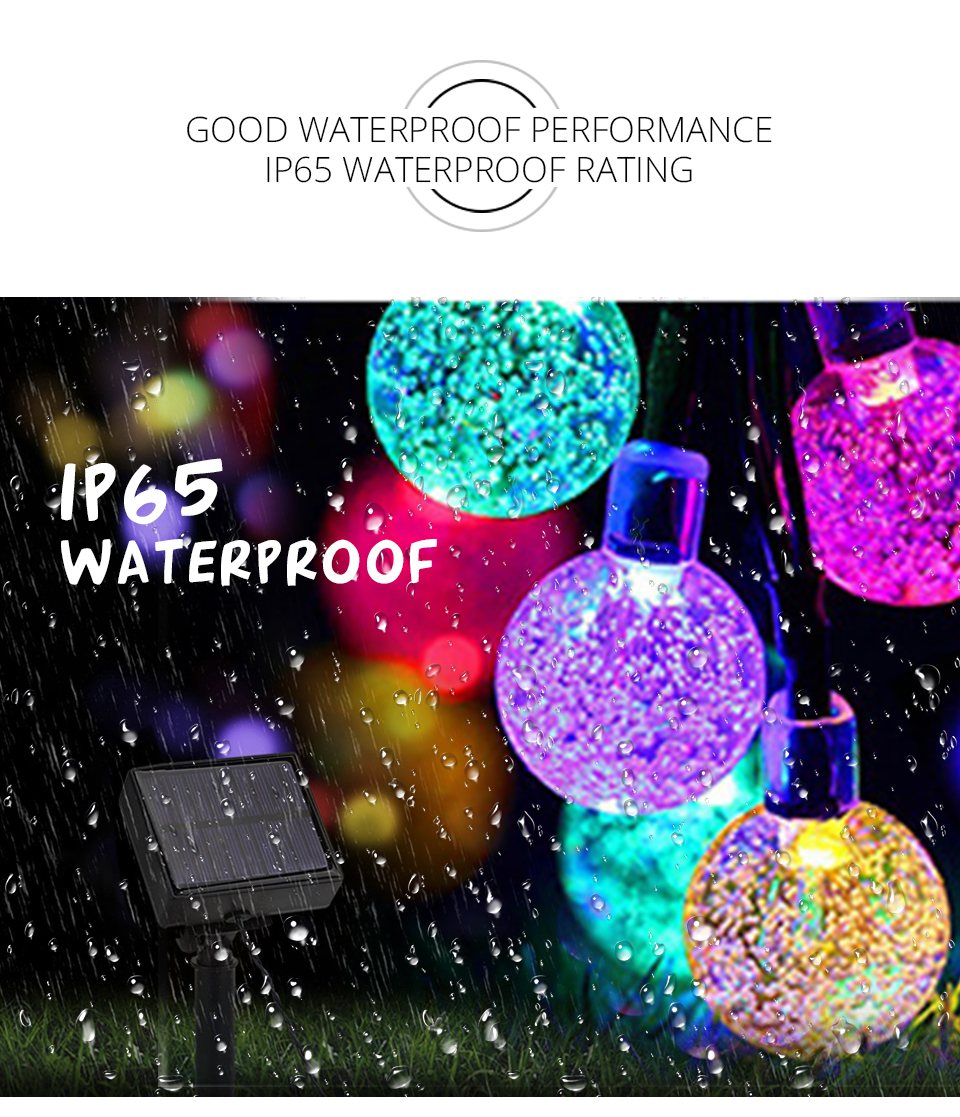 Solar LED String Lights Garland Outdoor 3050 LED Ball Hollow Christmas Trees Garden Party Decor String Fairy Light Ball Chain (8)